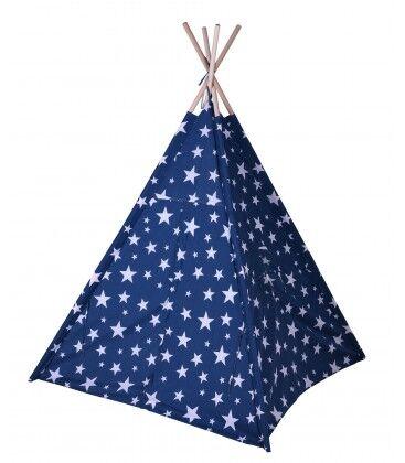 Wadiga Tente de Jeu pour Enfant Tipi Bleu avec Étoiles Blanches