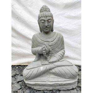 Wanda Collection Bouddha assis en pierre volcanique position chakra 50 cm