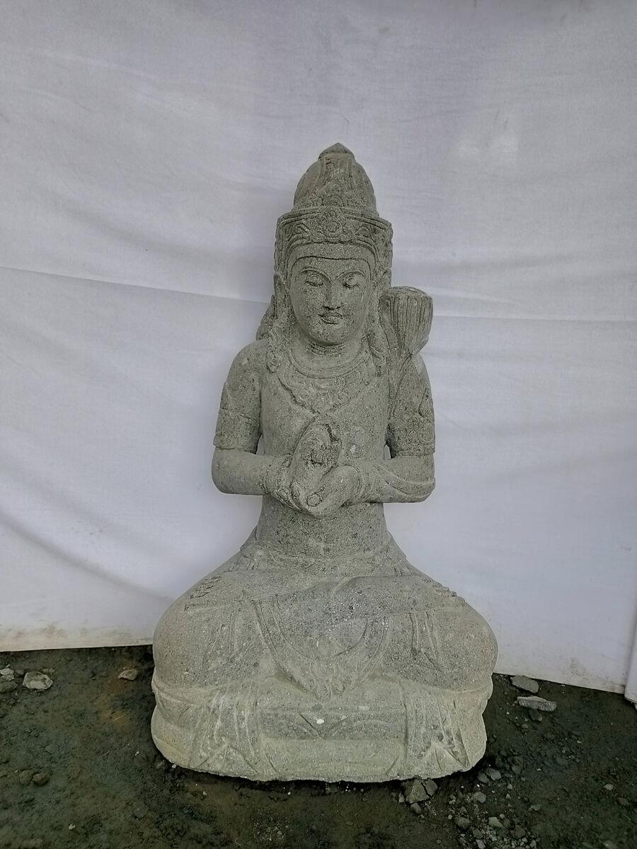 Wanda Collection Statue de jardin en pierre volcanique déesse balinaise 1m