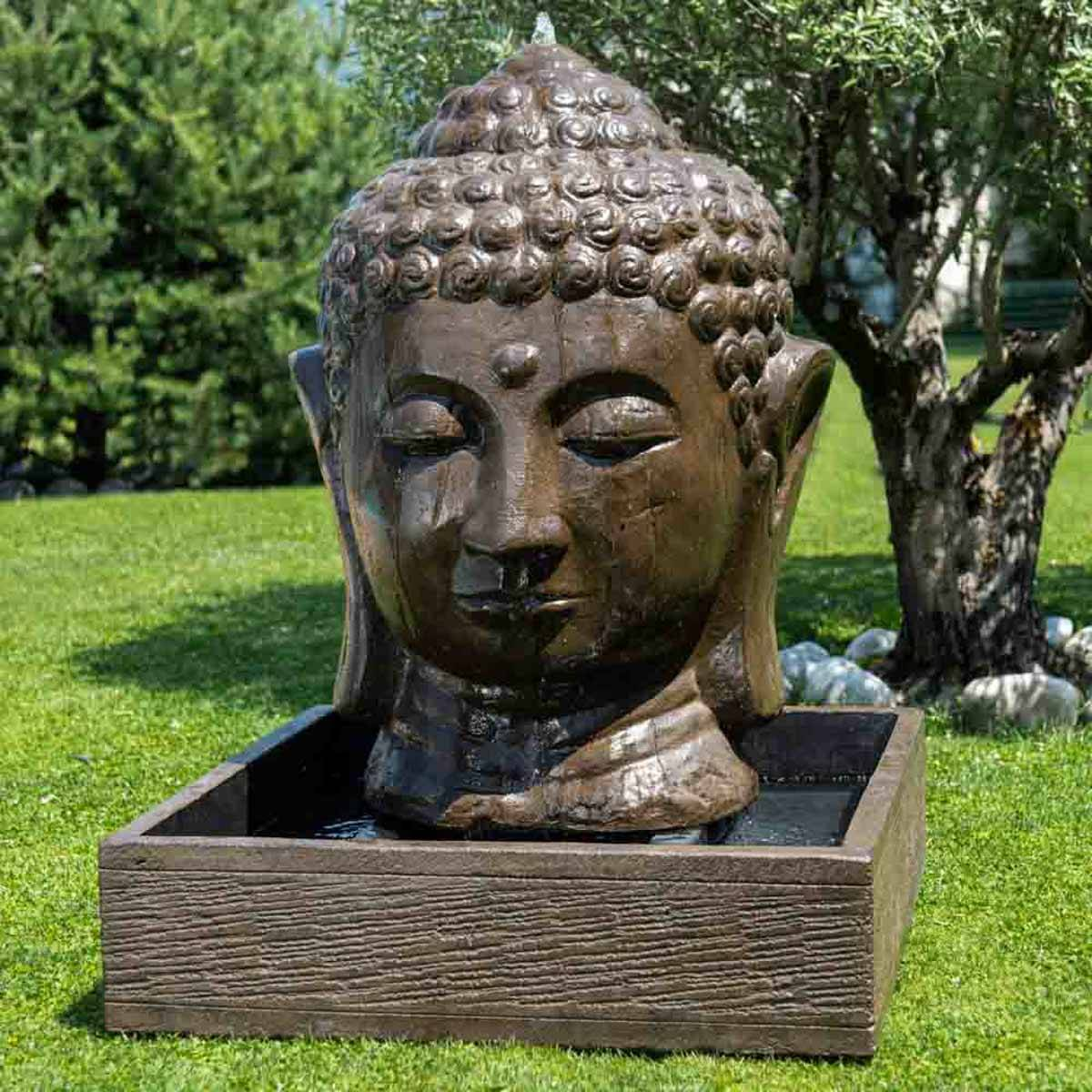 Wanda Collection Fontaine de jardin tête de Bouddha 1 m 30 brun