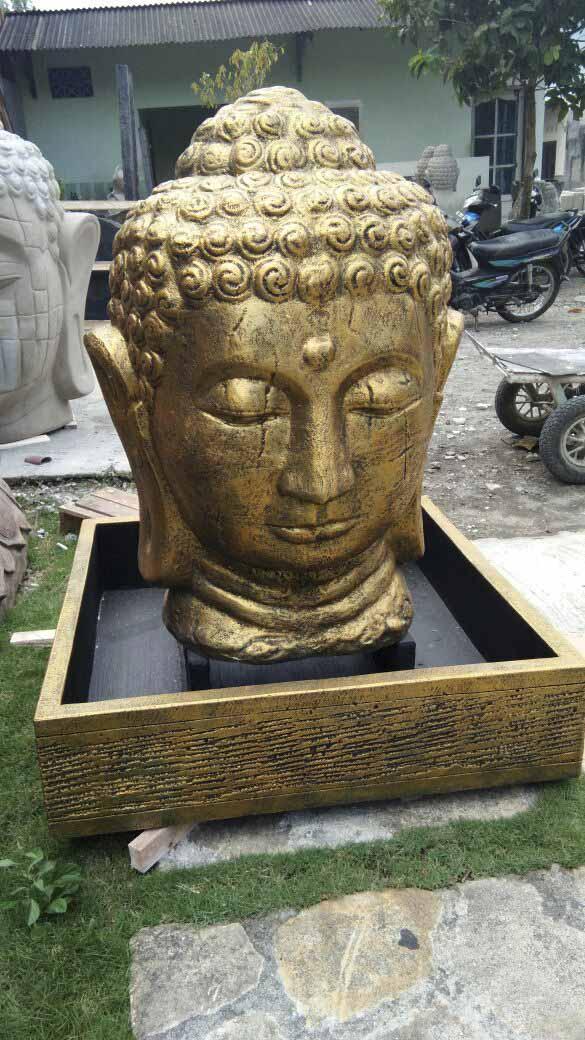 Wanda Collection Fontaine de jardin tête de Bouddha 1 m 30 doré