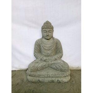 Wanda Collection Statue jardin exterieur Bouddha assis pierre volcanique collier 50 cm