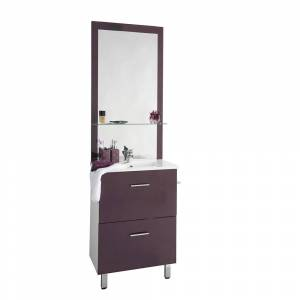 LE QUAI DES AFFAIRES Ensemble meuble sous-vasque + vasque résine + miroir BLUSH / Aubergine