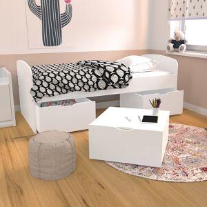 LE QUAI DES AFFAIRES Lit MIA 90x190 + 1 sommier + 2 tiroirs + 1 coffre table basse / Blanc