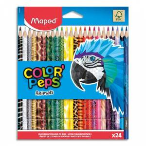 Maped Crayons de couleur décorés Animals Colorpep's Maped - coloris assortis - pochette de 24