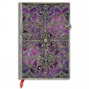 Paperblanks Carnet Paperblanks filigrane - 18 x 23 cm - 240 pages - ligné - argenté aubergine