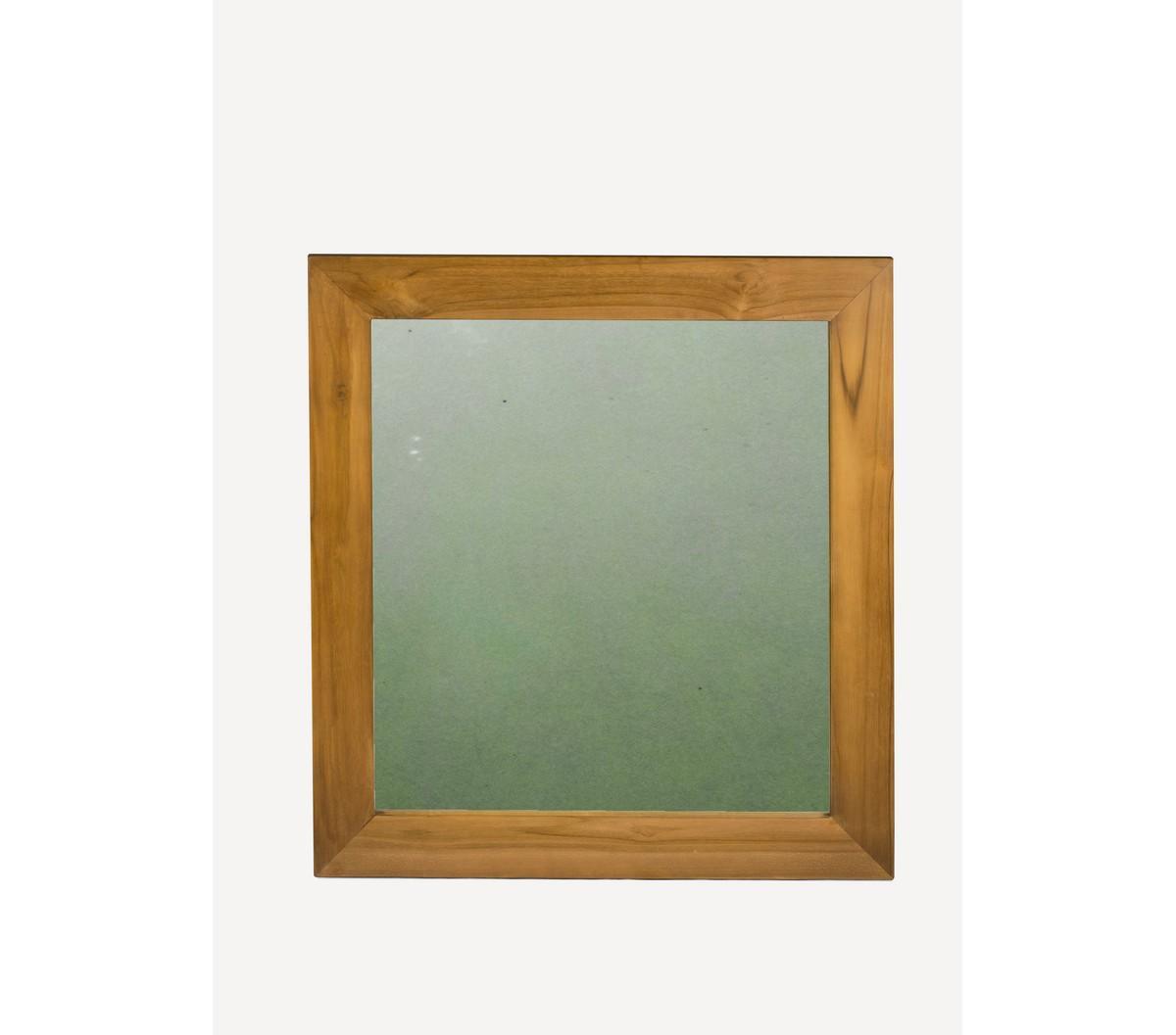 wood-en-stock Miroir en teck massif 75 cm x 80 cm
