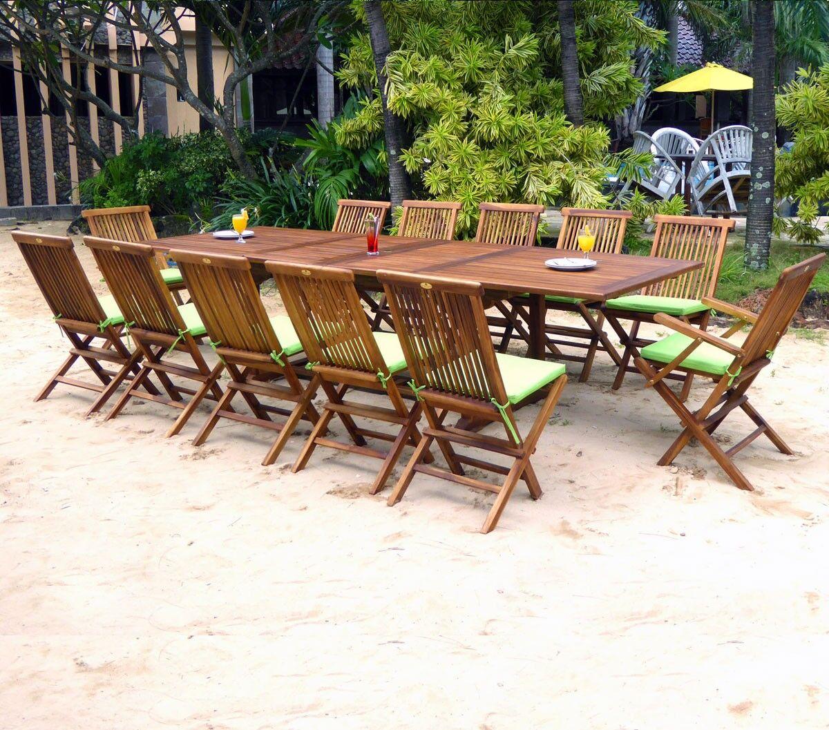 wood-en-stock ensemble 12 places salon de jardin en teck huilé avec coussins