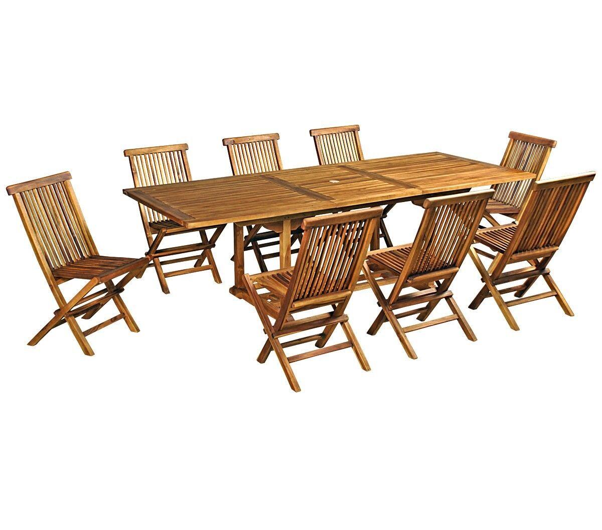 wood-en-stock salon de jardin en teck huilé pour 8 personnes 180-240cm