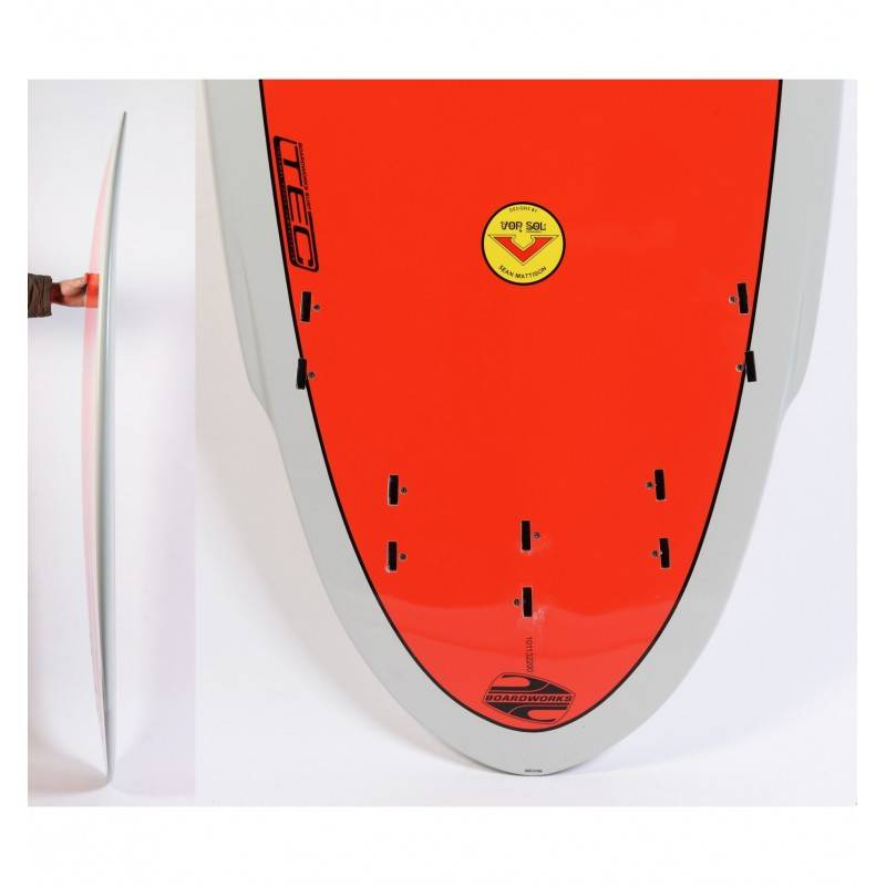 BOARDWORKS Planche de Surf BOARDWORKS Von Sol Shadow grey/red (epoxy)
