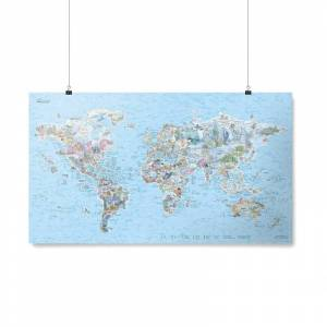 AWESOME MAPS Poster Carte du Monde Dive Awesome Map Re-writable