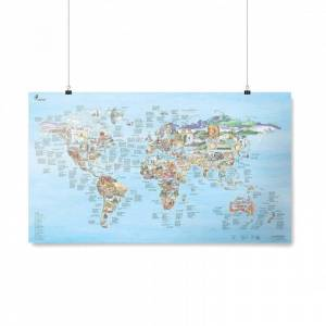 AWESOME MAPS Poster Carte du Monde Climbing Awesome Map Re-writable
