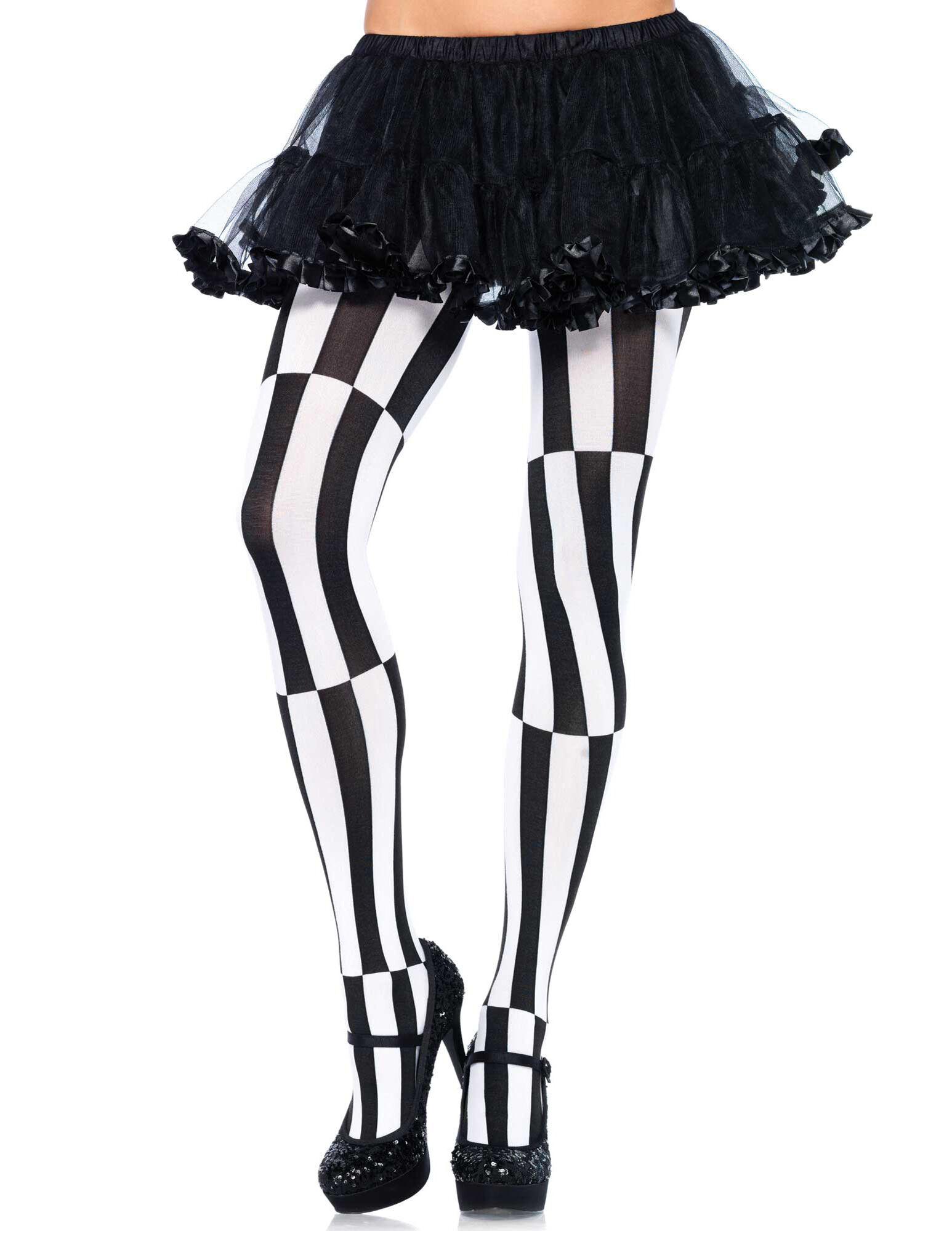 Deguisetoi Collants illusion d'optique noir et blanc femme - Taille: XL/2XL (48-52)