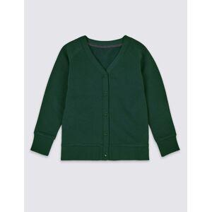 Marks & Spencer Gilet en coton style sweat à manches longues, doté de la technologie StayNEW™ Bottle Green taille : 44-46 unisex