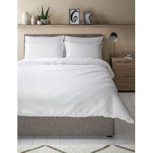 Marks & Spencer Parure de lit 100% coton à rayures gaufrées White taille : Lit super king size (180 cm x 220cm) unisex