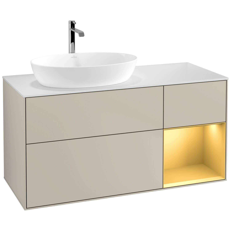 Villeroy & Boch Finion Waschtischunterschrank 120 cm mit Regalelement rechts, Abdeckplatte gold matt lacquer/sand matt lacquer F811HFHH