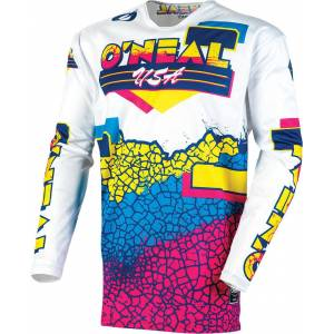 Oneal Mayhem Crackle 91 Maillot Motocross Blanc XL