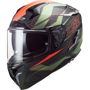 LS2 FF327 Challenger Fold Carbon Casque Noir Vert Orange XS
