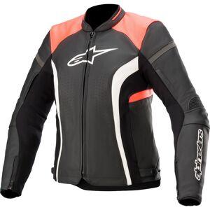 Alpinestars Stella Kira V2 Veste en cuir de moto pour dames Noir Orange 44