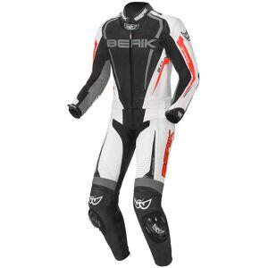 Berik Race-X Costume en cuir de moto deux pièces Noir Gris Rouge 60