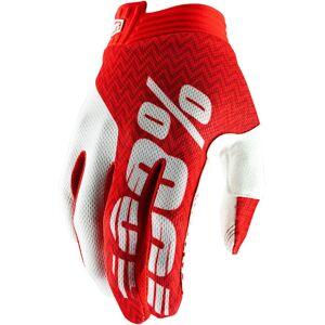 100% Itrack Gloves Gants Blanc Rouge S