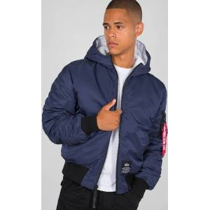 Alpha Industries Hooded Puffer FD Rev. veste Blanc Bleu L