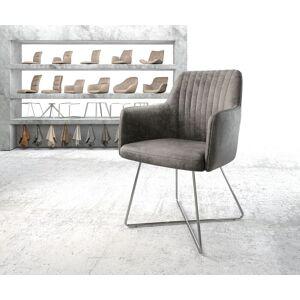 DELIFE Fauteuil Greg-Flex gris vintage X-cadre acier inoxydable