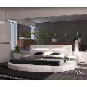 DELIFE Lit Arrondi 180x200 blanc rond 2 consoles de nuit LED