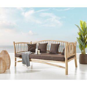 DELIFE Canapé d'extérieur Melania 212x103 cm Teck nature avec coussin marron
