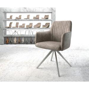 DELIFE Chaise-pivotante Greg-Flex taupe vintage cadre croisé carré acier inoxydable