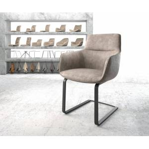 DELIFE Chaise de salle à manger Pejo-Flex taupe vintage cantilever plat noir