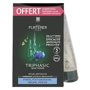 René Furterer Triphasic Reactional 12 ampoules + Triphasic Shampooing 100ml Offert