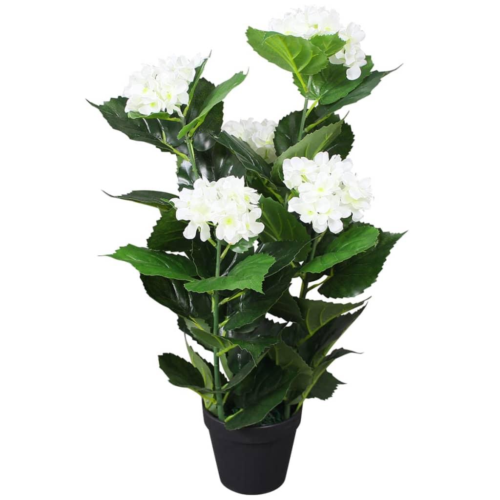 vidaXL Plante hortensia artificielle avec pot 60 cm Blanc