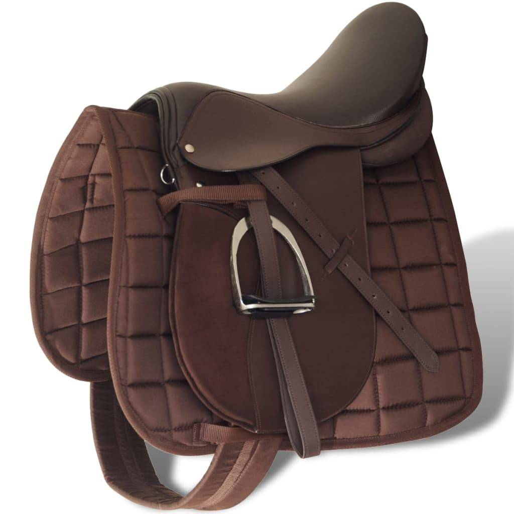 """vidaXL Set de selle équitation 17,5"""" en cuir véritable 12 cm 5 en 1 brun"""
