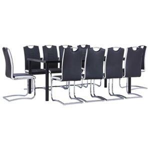 vidaXL Ensemble de salle à manger 11 pcs Similicuir Noir