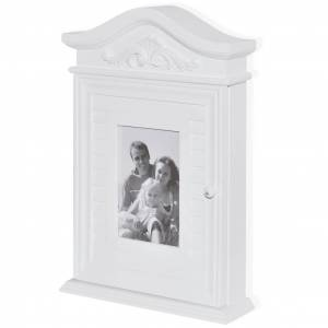 vidaXL Armoire à clés avec cadre photo Blanc