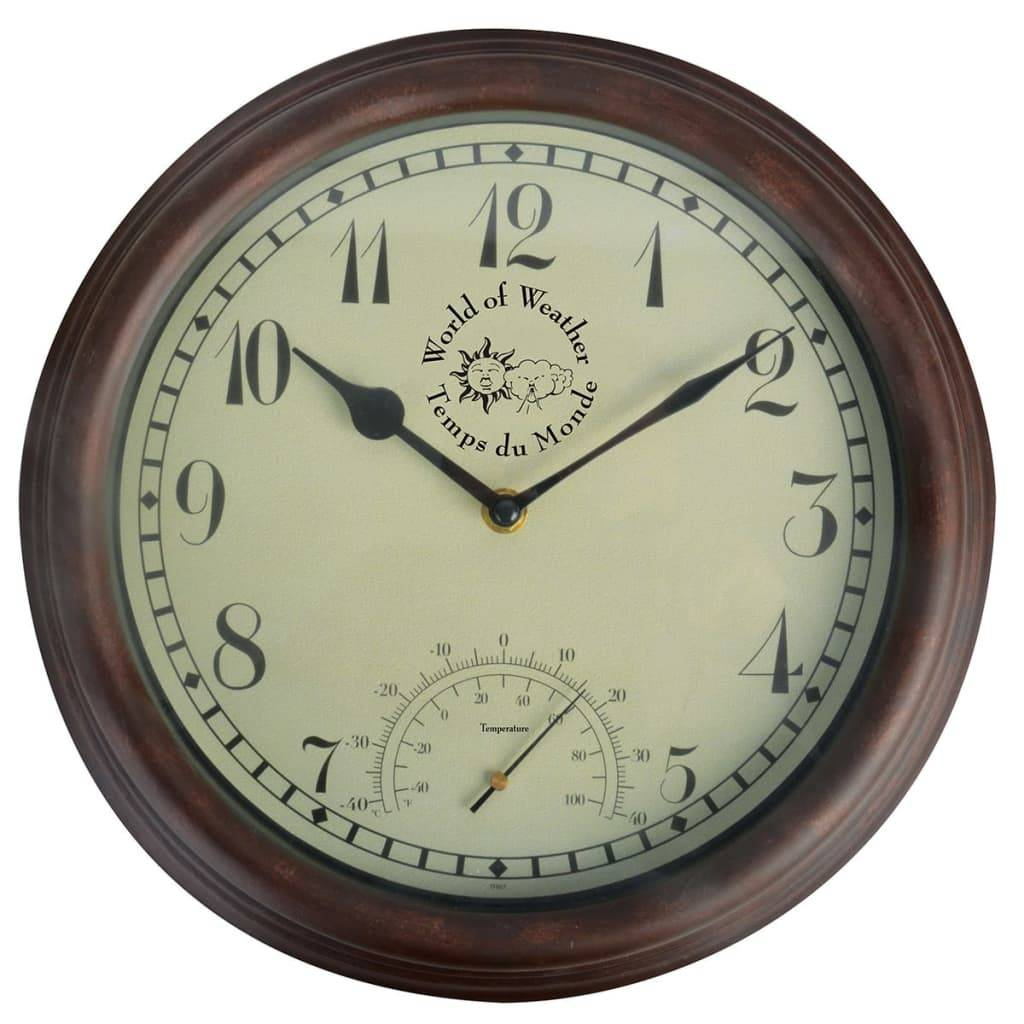 Esschert Design Horloge de station avec thermomètre 30,5 cm TF007