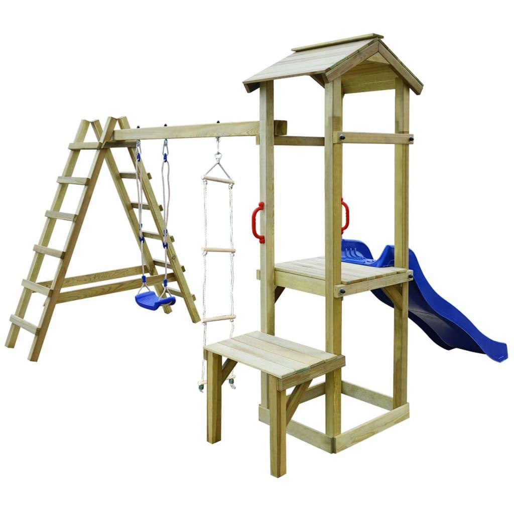 vidaXL Maison de jeu toboggan échelles balançoire 286x228x218 cm Bois