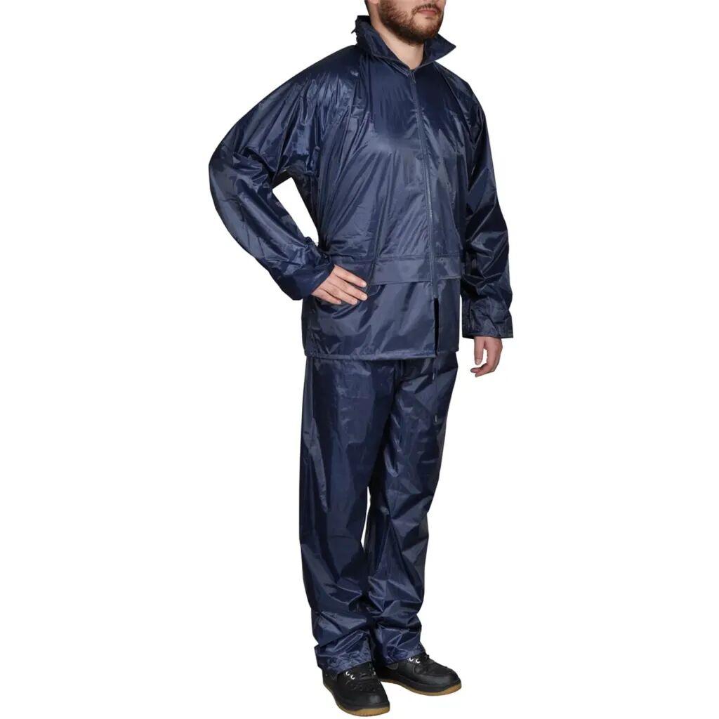 vidaXL Combinaison de pluie avec capuche 2 pièces Bleu marine XXL