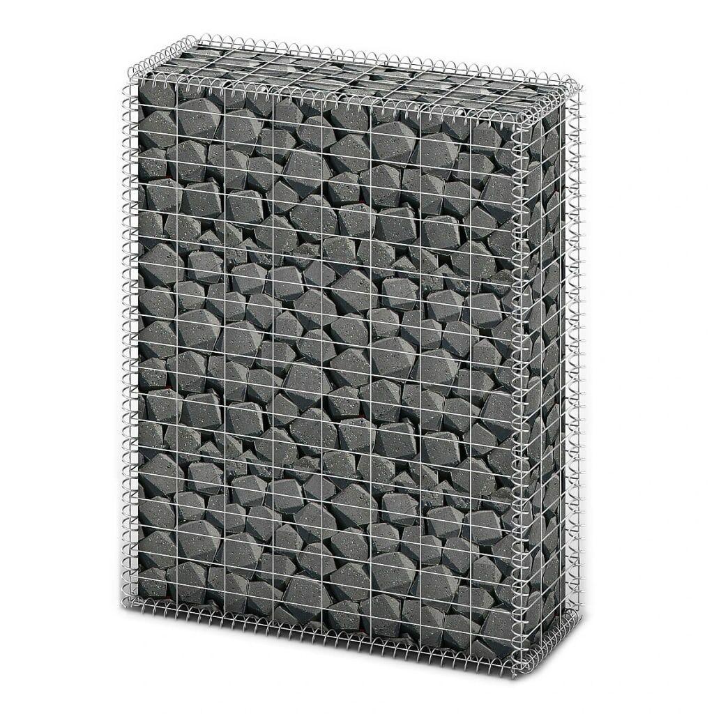vidaXL Panier de gabion avec couvercle Fil galvanisé 100 x 80 x 30 cm
