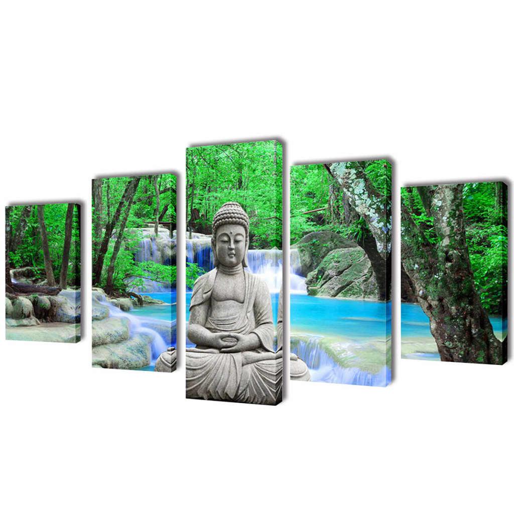 vidaXL Set de toiles murales imprimées Bouddha 100 x 50 cm