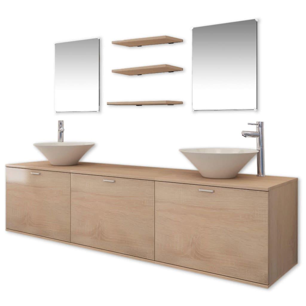 vidaXL Dix pièces pour salle de bains avec lavabo et robinet beige