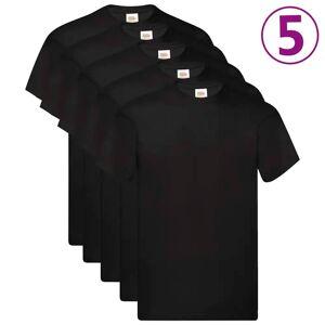 Fruit of the Loom T-shirts originaux 5 pcs Noir 4XL Coton