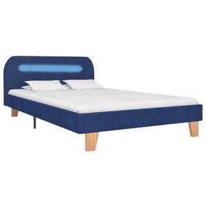 vidaXL Cadre de lit avec LED Bleu Tissu 120 x 200 cm