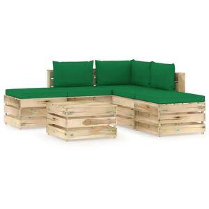 vidaXL Salon de jardin 6 pcs avec coussins Bois imprégné de vert