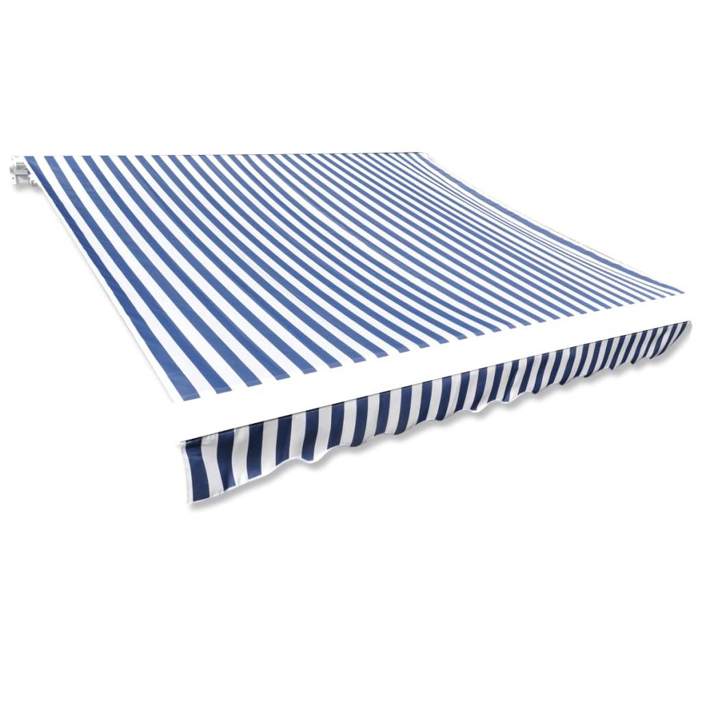 vidaXL Toit d'auvent Toile Bleu et blanc 4x3 m (Cadre non inclus)