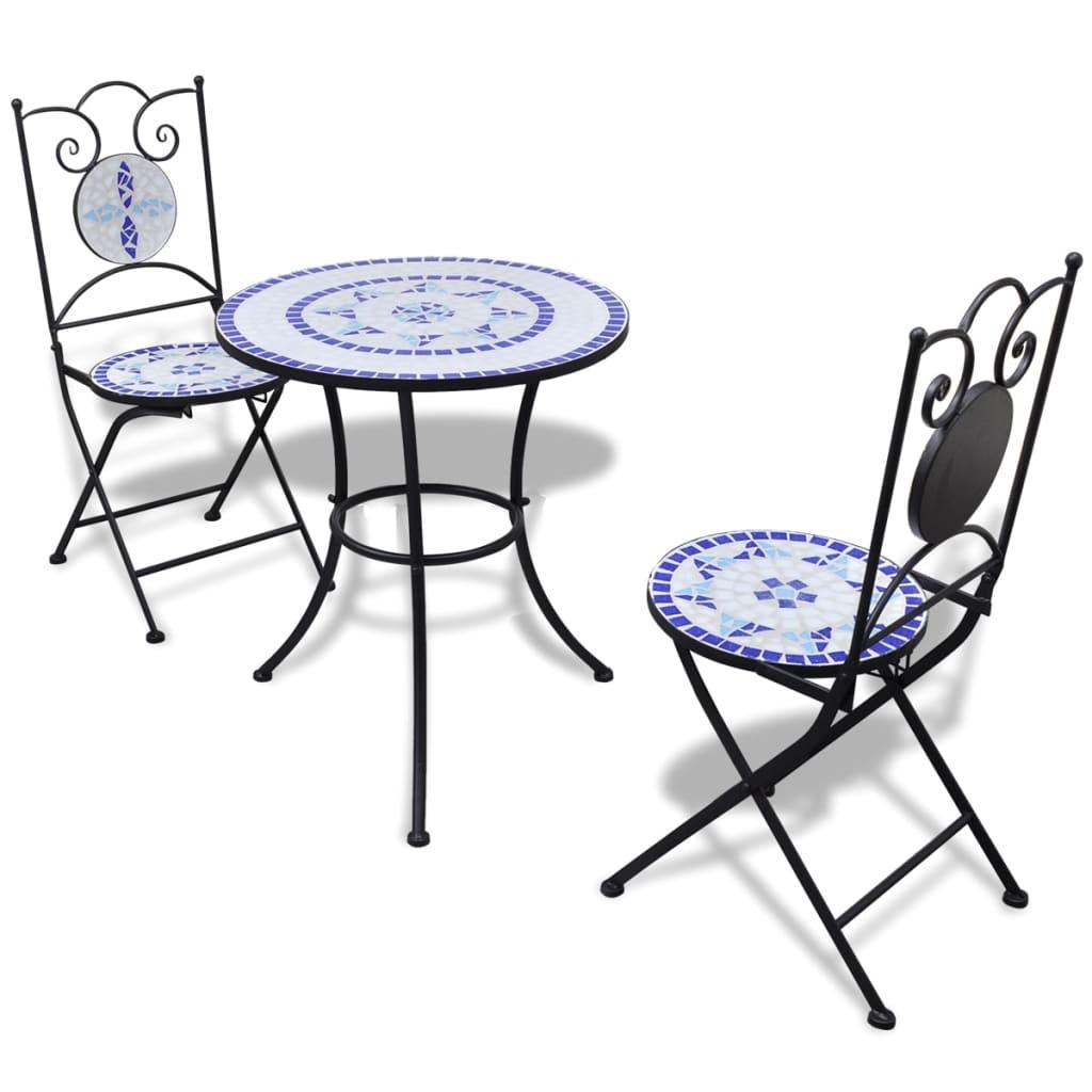 vidaXL Mobilier de bistro 3 pcs Carreaux céramiques Bleu et blanc