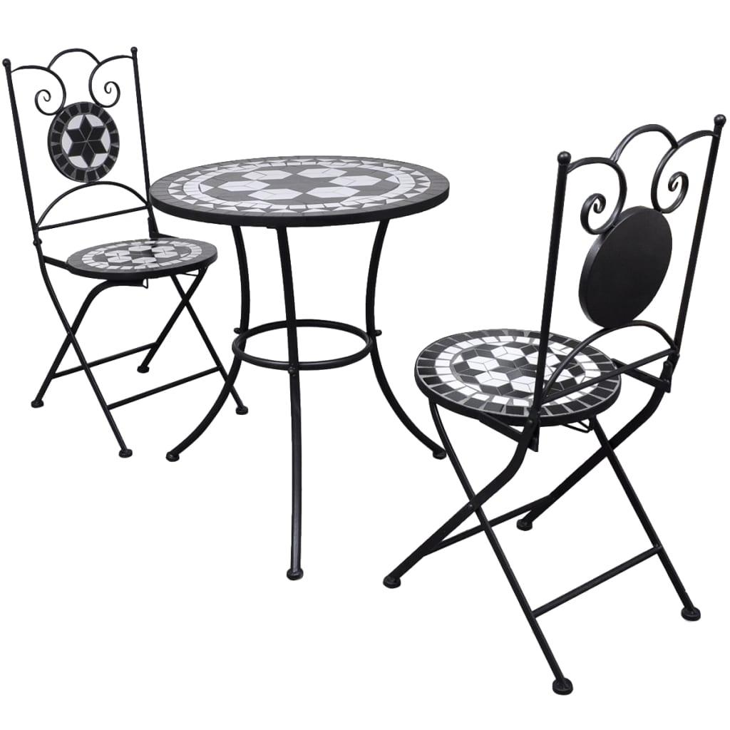 vidaXL Mobilier de bistro 3 pcs Carreaux céramiques Noir et blanc