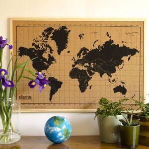 milimetrado Carte du monde liège et cadre bois Noir et marron 70x50 cm