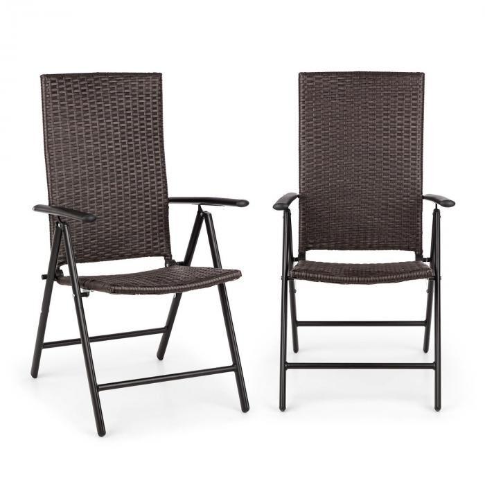 Blumfeldt Estoril Set 2 chaise de jardin pliantes 7 positions alu & polyrotin -